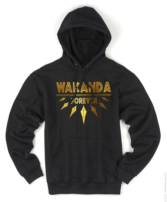 Black Panther Wakanda Forever Gold Foil Wakanda Men Hoodie Gold Foil Stamp