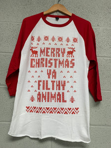 Merry Christmas Ya Filthy Animal White with red sleeve Raglan Men t shirt