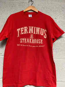 Terminus Steak House walking Dead Men T shirt RED