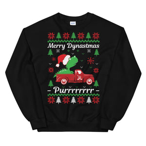 Dino On Pickup Truck Ugly Sweater Party Unisex Sweatshirt