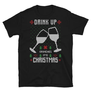 Drink Up Christmas Ugly Sweater Design Short-Sleeve Unisex T-Shirt