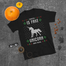 Santa Is Fake Unicorn Is Real Transparent For Christmas Ugly Sweater Design Short-Sleeve Unisex T-Shirt
