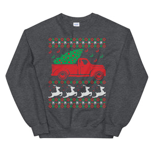 Christmas Tree On Truck Ugly Sweater Party Unisex Sweatshirt