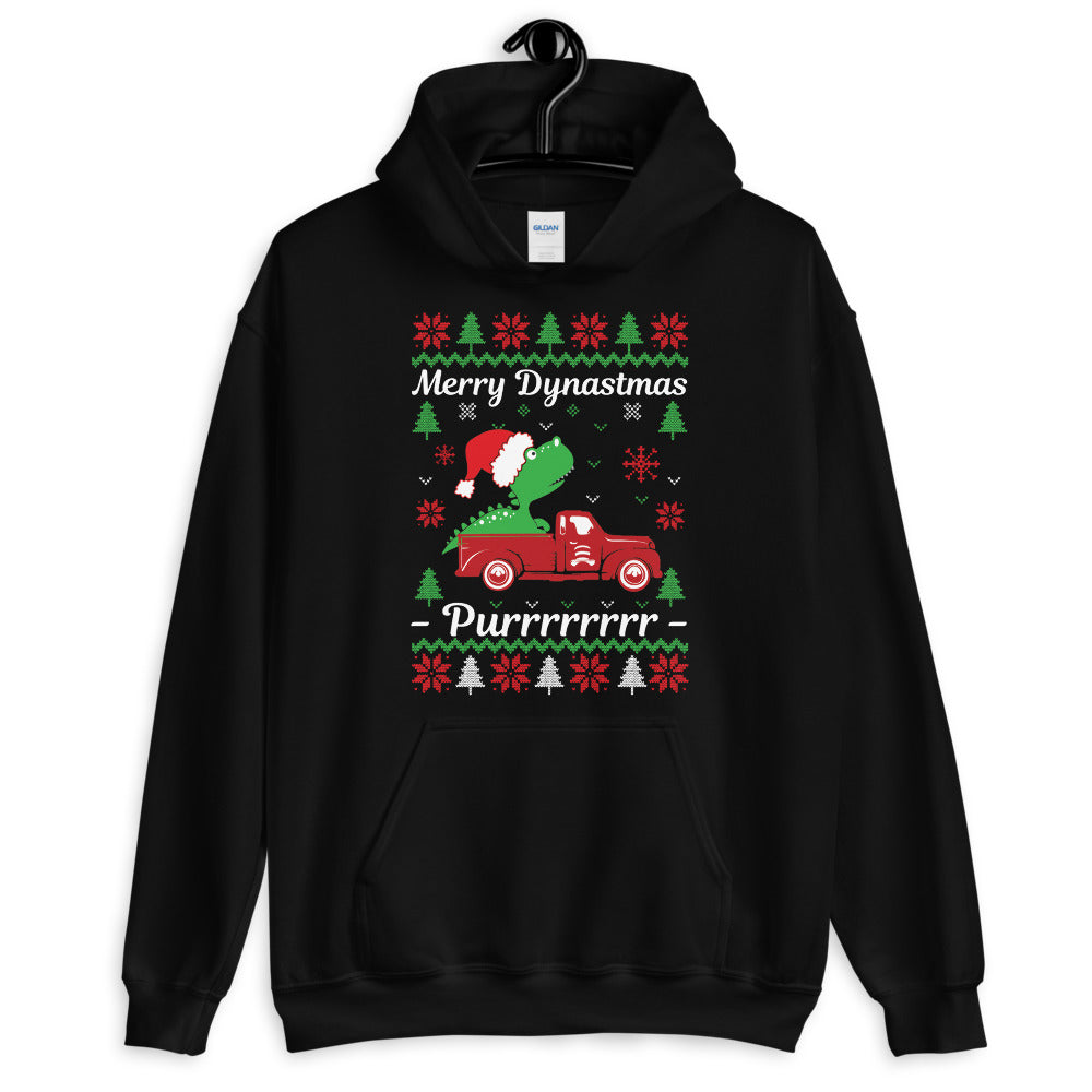 Dino On Pickup Truck Ugly Sweater Party Unisex Hoodie