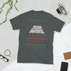 War Of The Star Logo Transparent For Christmas Ugly Sweater Design Short-Sleeve Unisex T-Shirt