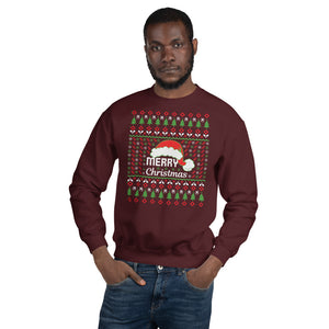 Merry Christmas Santa Hat and Trees Ugly Sweater Party Unisex Sweatshirt