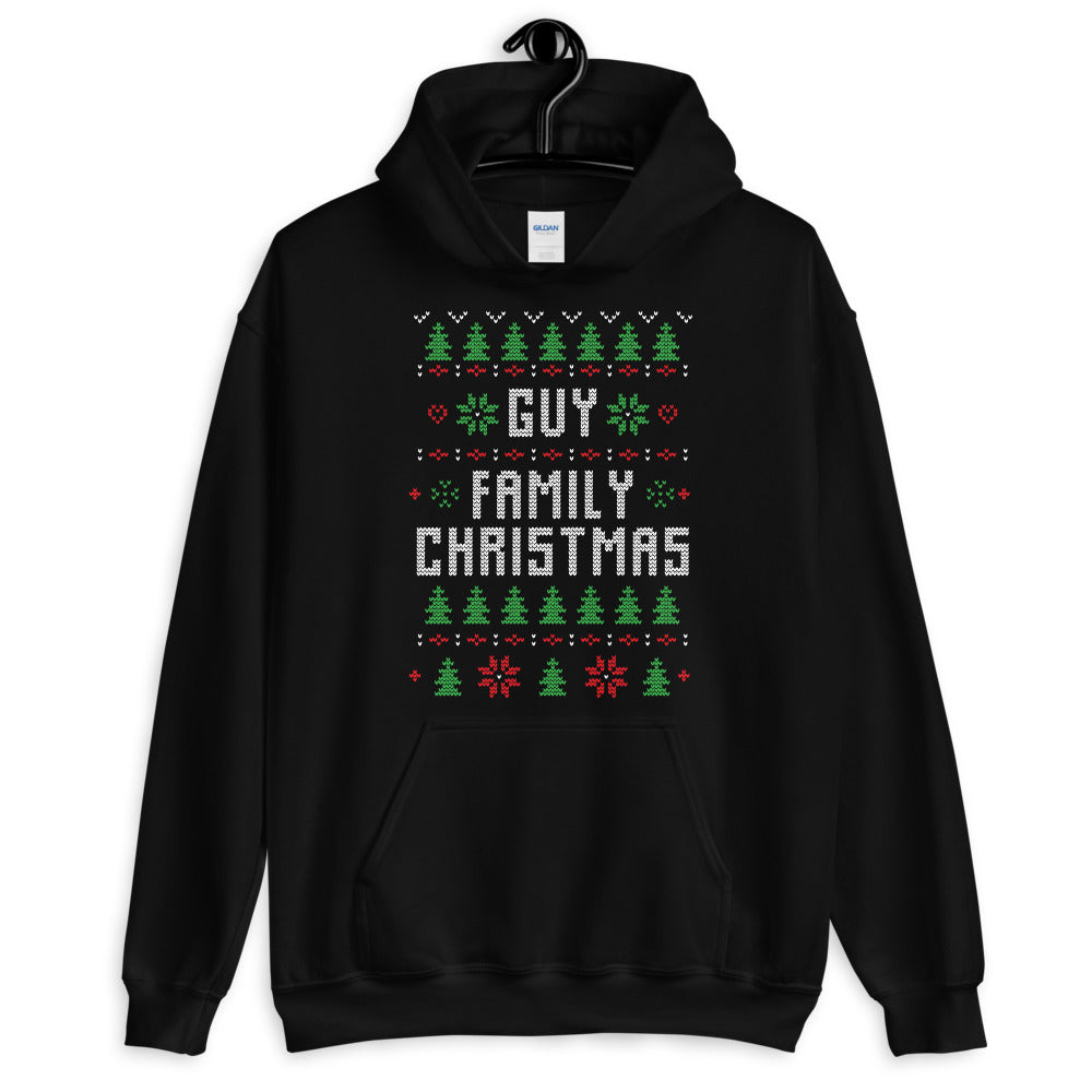 Guy Family Christmas Ugly Sweater Design Unisex Hoodie