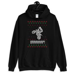 Brap Motocross Christmas Ugly Sweater Design Unisex Hoodie