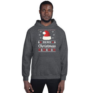 Merry Christmas Santa Hat and Snowflake Christmas Ugly Sweater Party Unisex Hoodie
