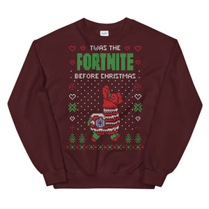 Twas the Fornite Before Transparent For Christmas Ugly Sweater Design Unisex Sweatshirt