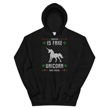 Santa Is Fake Unicorn Is Real Transparent For Christmas Ugly Sweater Design Unisex Hoodie