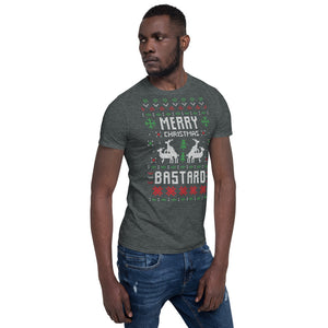 Merry Christmas Bastard Transparent For Christmas Ugly Sweater Design Short-Sleeve Unisex T-Shirt