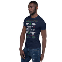 Merry Christmas Dino Transparent For Christmas Ugly Sweater Design Short-Sleeve Unisex T-Shirt