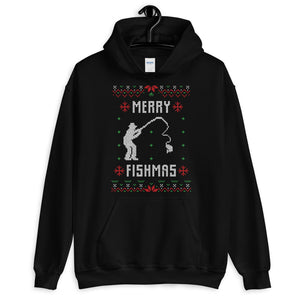 Merry Fishmas Transparent For Christmas Ugly Sweater Design Unisex Hoodie