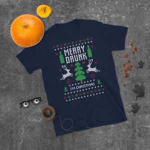 Merry Drunk I_m Christmas Transparent For Christmas Ugly Sweater Design Short-Sleeve Unisex T-Shirt