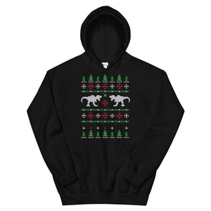 Trex Dinosaur Transparent For Christmas Ugly Sweater Design Unisex Hoodie