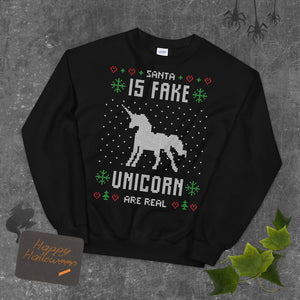 Santa Is Fake Unicorn Is Real Transparent For Christmas Ugly Sweater Design Unisex Sweatshirt