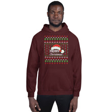 Merry Christmas Santa Hat and Trees Ugly Sweater Party Unisex Hoodie