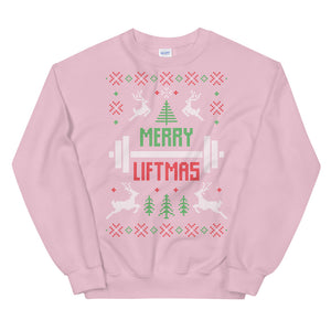 Merry Liftmas Transparent For Christmas Ugly Sweater Design Unisex Sweatshirt