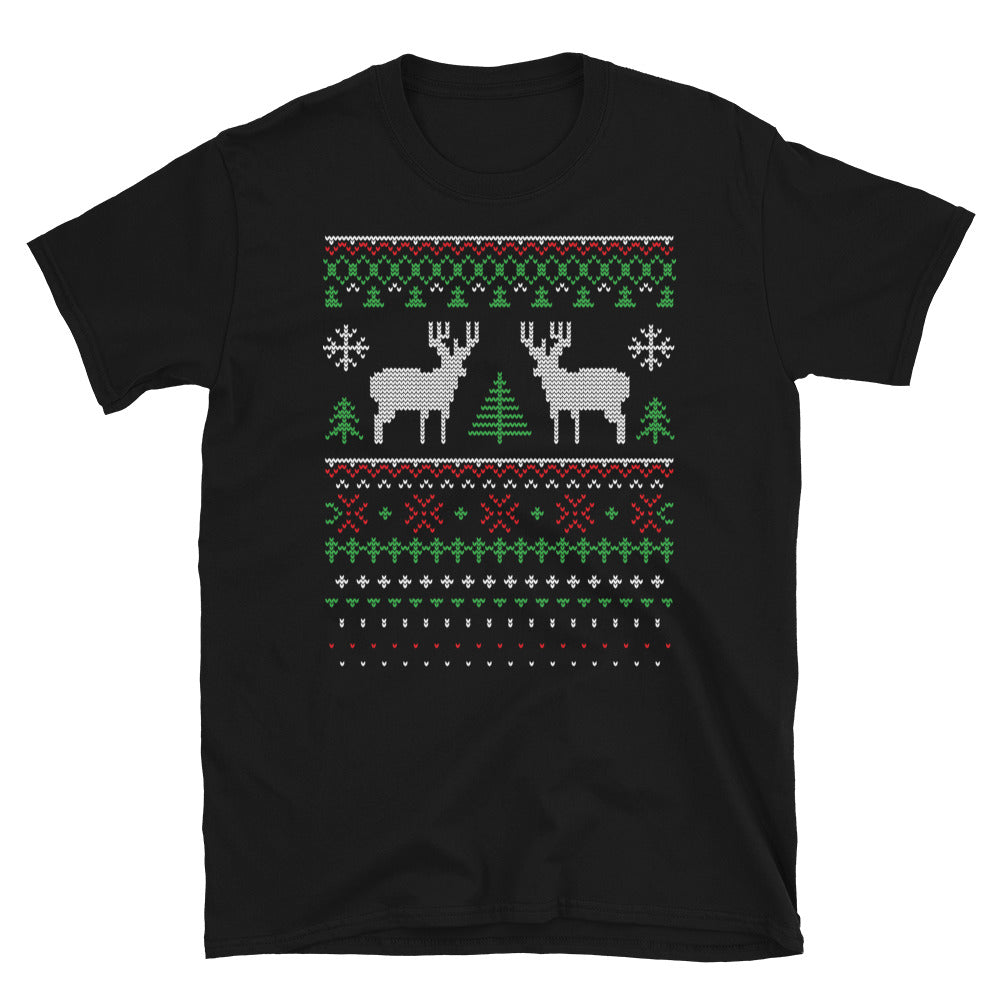 Deer Ornament Ugly Sweater Christmas Designs Short-Sleeve Unisex T-Shirt