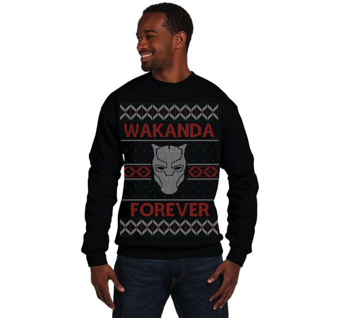 Black Panther Wakanda Forever Ugly Christmas Sweatshirt Men's