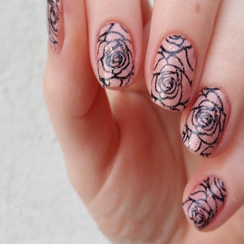 Diy Blooming Rose Nail Art Stamping Plate Putiful Store