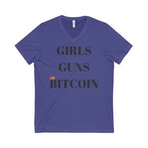 GIRLS GUNS BITCOIN Short Sleeve V-Neck Tee
