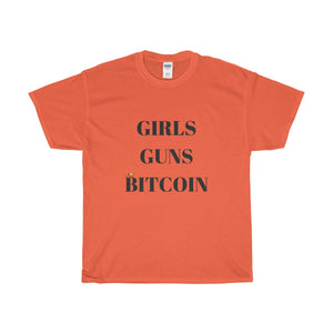 GIRLS GUNS BITCOIN Heavy Cotton T-Shirt