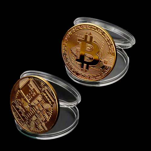 2Pcs Bitcoin Coin Collectible Gift Coin Art Coin Collect Home Decoration - bitcointweaker