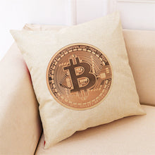 Home Decor Cushion Cover Bitcoin Decorative Coins Throw Pillowcase Pillow Covers