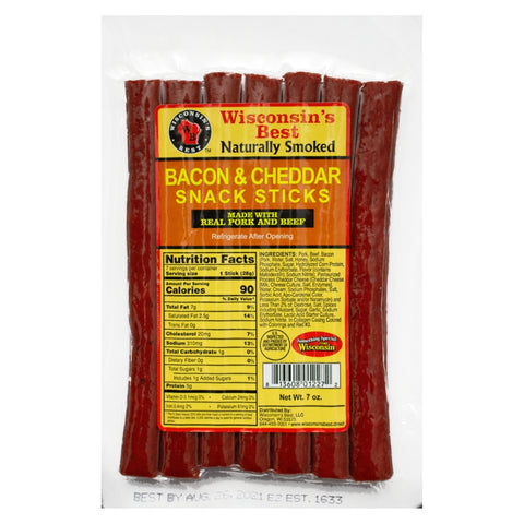 "Sausage Stick ""Bacon and Cheddar""  7oz.  Value Packs 12ct"