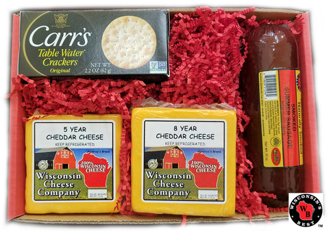 "Cheese and Sausage ""Wisconsin Deluxe Elite Aged Cheddar Cheese, Sausage & Cracker"" Gift"