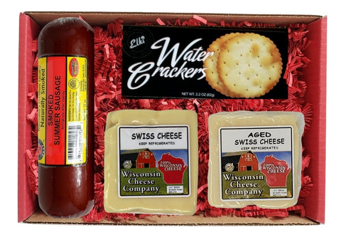 Wisconsin Swiss Cheese, Cracker & Meat Holiday Gift Basket Sampler