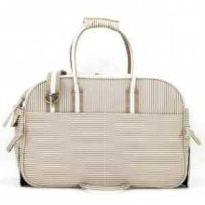 Khaki and White Striped Pet Carrier Bag XL | Dogs and the City