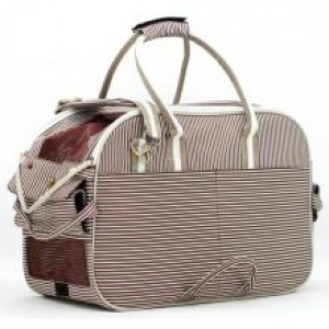 Brown and White Striped Pet Carrier Bag XL | Dogs and the City