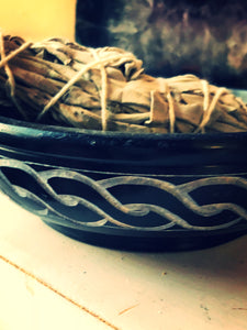 Ceramic Celtic Scrying or Smudge Bowl