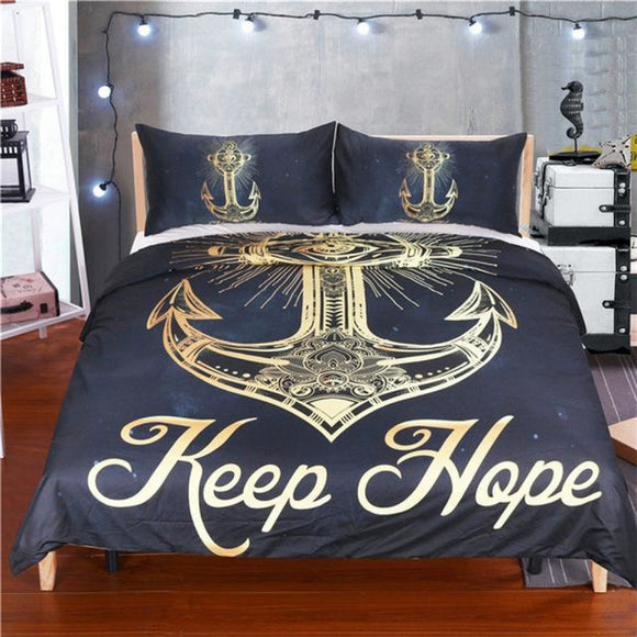 3 Pcs Golden Anchor Duvet Cover Set With Pillowcase & Soft Quilt Usa Twin