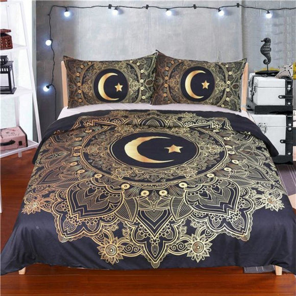 3 Pcs Golden Mandala Flowers Star Moon Duvet Cover Bedding Set Twin
