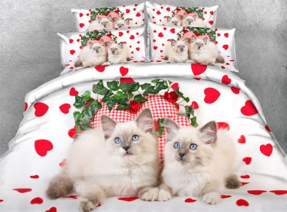 4 Pc Set Persian Cat With Red Hearts 3D Bedding Full Size 4Pcs