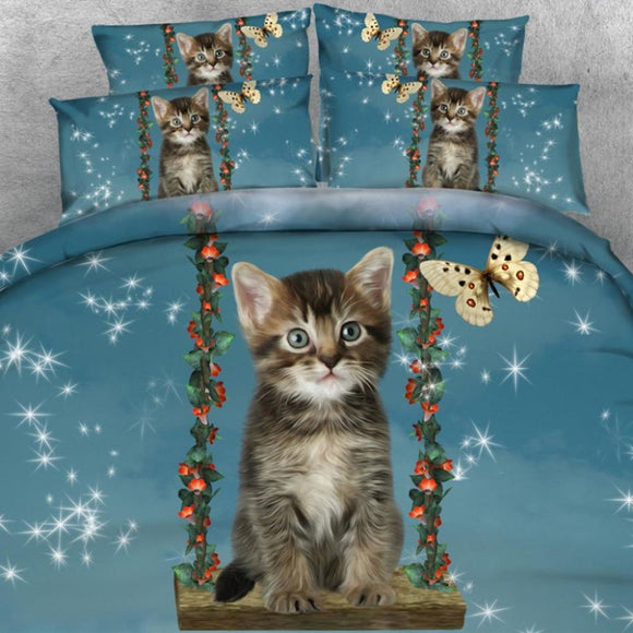 4 Pcs Set Cute Little Cat On A Swing With Butterfly 3D Bedding Set