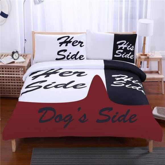 Black And White Bedding Set His Side & Her Couple W/ Dogs Twin