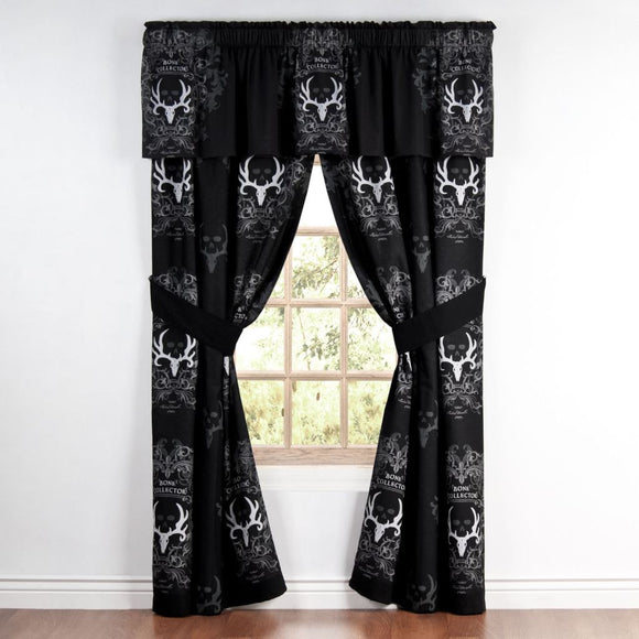 Bone Collector Black Rod Pocket Curtains