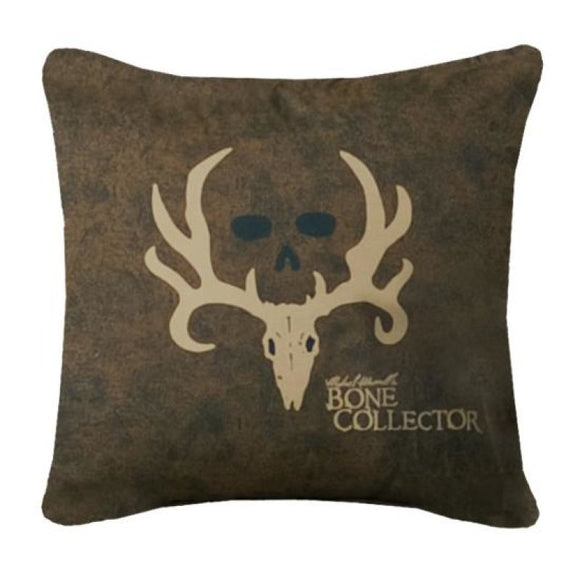 Bone Collector Square Throw Pillow Dark/tan Dark