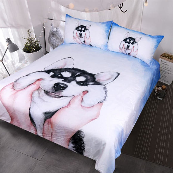 Husky Puppy Bedding Set Watercolor Duvet Cover With Pillowcases