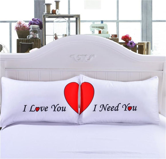 Set Of 2 Love Red Heart Pillow Cases