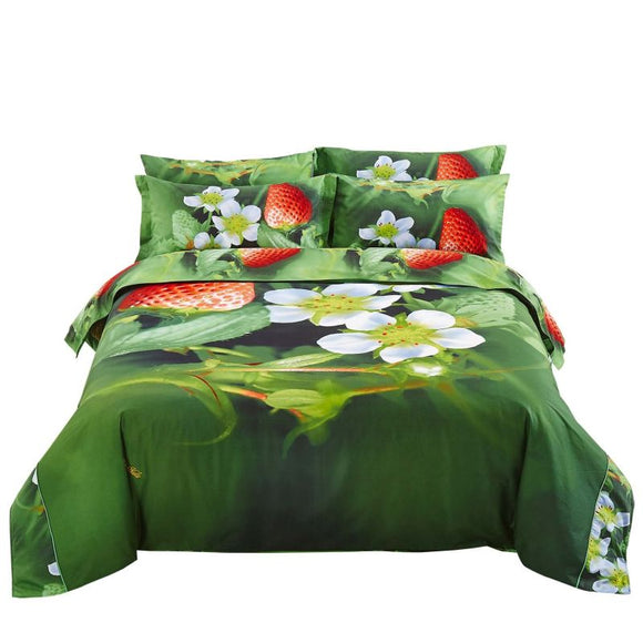 Strawberry 6 Piece Duvet Cover Sheet Set Nature Themed Luxury Bedding