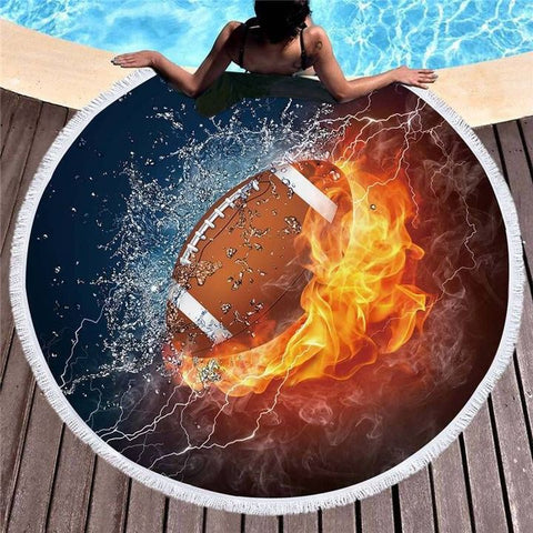 Fútbol Rugby Round Beach Towel Fire y ice cool art | rugby
