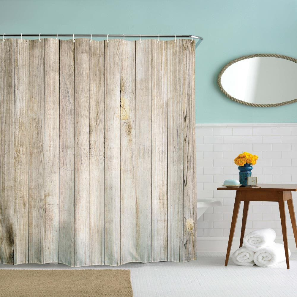 Rustic Country Vintage Wood Door Shower Curtain | Gojeek