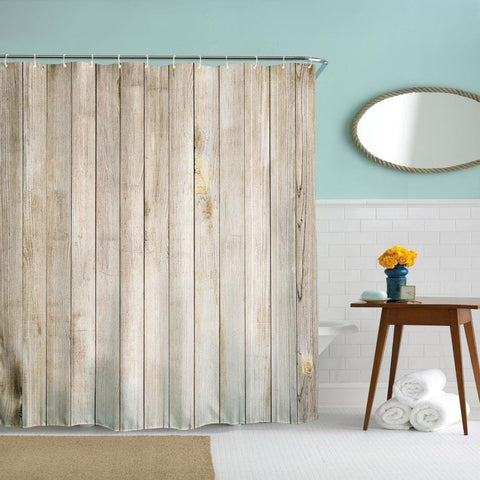 Rústica Country Vintage Wood Door Shower Cortina | Gojeek