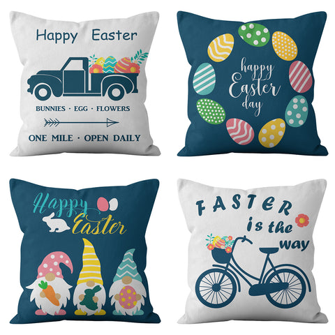 Happy Easter Theme Colorful Eggs and Truck Throw Pillow Cover Set